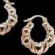 Puffy Heart Pierced Hoop Earrings 10 Karat Gold
