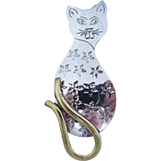 Large Cat Brooch Sterling Silver Brass Mexican