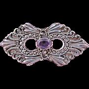 Ornate Vintage Amethyst Sterling Silver Brooch