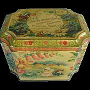 Early Scottish Biscuit Tin John Buchanan Glasgow Four Seasons Flowers Bird Children Butterfly