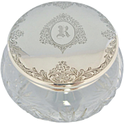 Birks Powder Jar Sterling Silver Crystal Monogrammed R