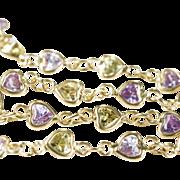 SALE Green Purple Amethyst Heart 750 18k Gold Bezel Set Gemstone Chain Link Bracelet