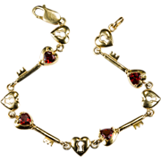 SALE Key To My Heart Garnet Bracelet 14k Gold Link Heart Lock Skeleton Key Bracelet