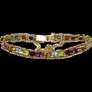 Elegant 22.80ctw Garnet Amethyst Citrine Peridot Topaz Tennis Bracelet 14k Gold Rope