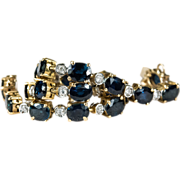 SALE Genuine Sapphire Bezel Diamond Bracelet 585 14k Gold Sapphire Tennis Bracelet