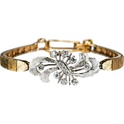 Charming Art Deco Diamond Bracelet 14k Hand Etched Two Tone Gold