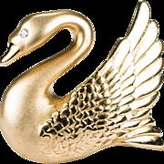 Diamond Swan Brooch 14k Gold B.A. Ballou Designer Pin