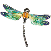 Hand Painted Enamel Dragonfly 925 Sterling Italian Designer Brooch Pin