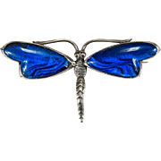 English Morpho Butterfly Wing 925 Sterling Silver Signed Quartz Dragonfly Brooch