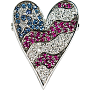 USA Flag Heart 1.45ctw Diamond Ruby Sapphire Designer 18k Gold Heart Brooch