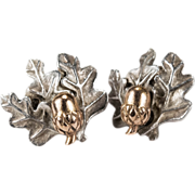Adorable 14k Rose Gold Acorn Sterling Oak Leaf Pierced Stud Earrings