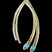 Persian Turquoise Earrings 14k Italian Gold Long Open Hoop Drop Pierced Earrings