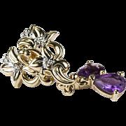 SALE Flowery Amethyst Drop Diamond Earrings 10k Pierced Dangle