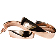 Sensual Rose Gold Twist Hoops Italian Designer 14k Gold Milor Pierced Hoop Earrings