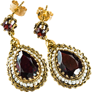 Genuine Garnet Pea Pearl Earrings 14k Gold Pierced Dangle Earrings