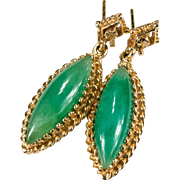 Genuine Jade 14k Gold Pierced Dangle Marquise Green Jade Earrings