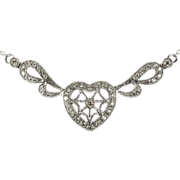 Winged Heart Lavalier Diamond Necklace 10k Gold .60ctw