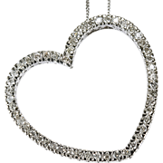Outstanding 1.50ctw Diamond Heart Necklace 585 14k Gold Link Chain
