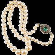 SALE South Sea Baroque Pearl Emerald Rose Cut Diamond Pearl Necklace 14k Gold Silver Cultured