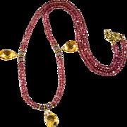 Garnet Amethyst Nugget Briolette Citrine Necklace 14k Gold Gemstone Strand Necklace