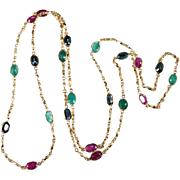 SALE Bezel Set Gemstone 12ctw Ruby Sapphire Emerald Necklace 14k Gold Chain Hand Crafted