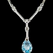 Briolette Pear Cut Topaz Diamond Necklace 3.31ctw 14k White Gold Topaz Lavalier Necklace