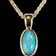 Natural Solitaire Black Opal Necklace 14k Gold Opal Pendant Link Chain