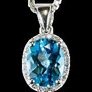 Swiss Blue Topaz Diamond Necklace 14k Gold Box Chain Topaz Diamond Halo Pendant