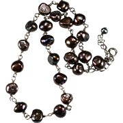 Peacock Pearl Necklace 925 Sterling Silver Cultured Pearl Choker