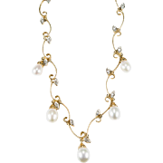 Natural Diamond Vine Pearl Necklace 10k Gold Cultured Pearl Drop Necklace