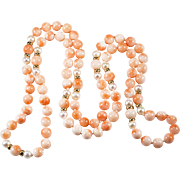 "30"" Angel Skin Coral Cultured Pearl 14k Gold Beaded Strand Necklace"