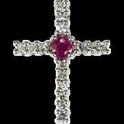 SALE Ruby Diamond Cross Pendant 14k Gold