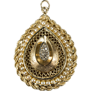 SALE Lovely Locket Pill Box Paste Cultured Pearl Pendant 14k Gold