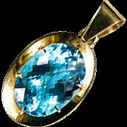 Radiant 19ctw Cushion Cut Swiss Blue Topaz Pendant 18k Gold