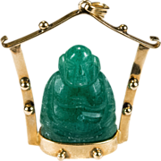 Hand Carved Jade Buddha Pendant 14k Gold Jade Temple Statue Necklace Pendant
