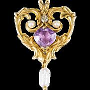 Heart Amethyst Diamond Pearl Pendant 585 14k Gold Slide Heart Pendant