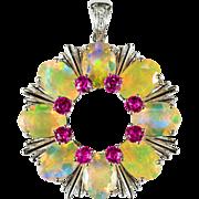 Natural Opal Pink Tourmaline Diamond Pendant 18k Gold Tourmaline Opal Pendant