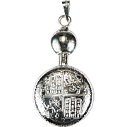 Rare Repousse Coat Of Arms Bottle Pendant 925 Sterling Opening Perfume Pendant