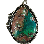 Antique Hand Crafted Rare Turquoise Sterling Silver Pendant
