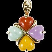 Heart Jade Pendant 10k Yellow Gold Jade Clover