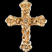 Daffodils Diamond Cross 14k Rose Gold Flower Cross Pendant