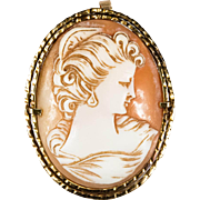 Victorian Hand Crafted Cameo Brooch Pendant 14k Gold