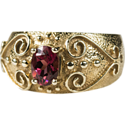 SALE Heart Etruscan Cigar Band Pink Tourmaline Ring 10k Gold