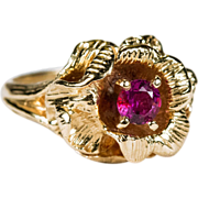 SALE Rose Solitaire Ruby Ring 14k Gold Flower Ruby Rose Ring