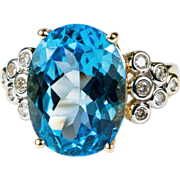 Art Deco Swiss Blue Topaz Diamond Ring 14k Gold