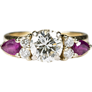 1.77ctw Ruby Diamond Ring 14k Plumb Gold Engagement Solitaire Wedding Band