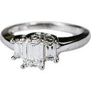 SALE Ravishing 1.06ctw Emerald Cut Diamond Ring 14k Gold Engagement Wedding