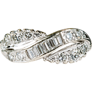 Infinity Bypass Mixed Cut Diamond Ring 14k Gold Stacking Wedding Band