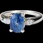 2.55ctw Natural Ceylon Sapphire Diamond Ring Platinum