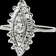 SALE Fantastic Navette .64ctw Diamond Ring 14k White Gold Designer Style Crest Ring